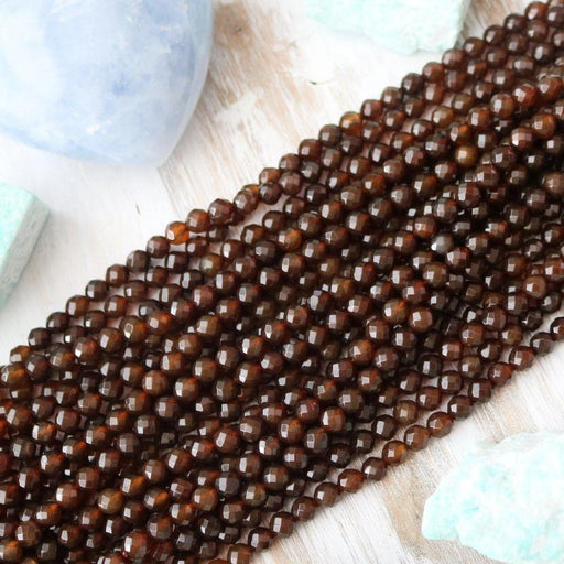 dark brown agate, 6mm, round, faceted, brown, sold as 1 strand, approx. 66 beads.-Gemstone Beads-BeadsVenture