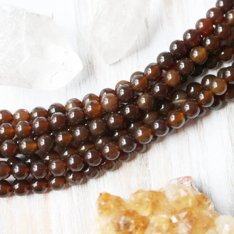 dark brown agate, 6mm, round, glossy, brown, sold as 1 strand, approx. 66 beads.-Gemstone Beads-BeadsVenture