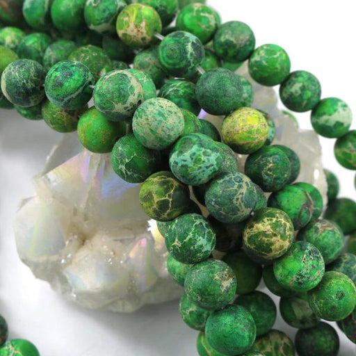 dark green impression jasper, 10mm, round, matte, 1 strand, 16 inches, approx. 40 beads.-Gemstone Beads-BeadsVenture