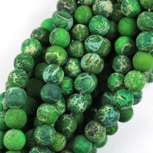 dark green impression jasper, 6mm, round, matte, 1 strand, 16 inches, approx. 66 beads.-Gemstone Beads-BeadsVenture
