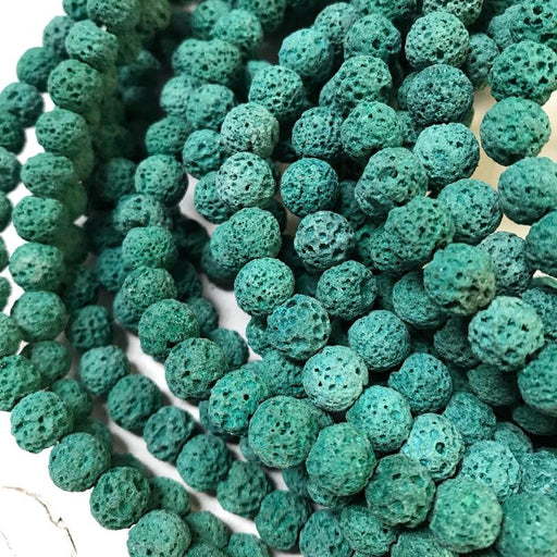 dark green lava, 8mm, round, rough, 1 strand, 16 inches, approx. 48 beads.-Gemstone Beads-BeadsVenture