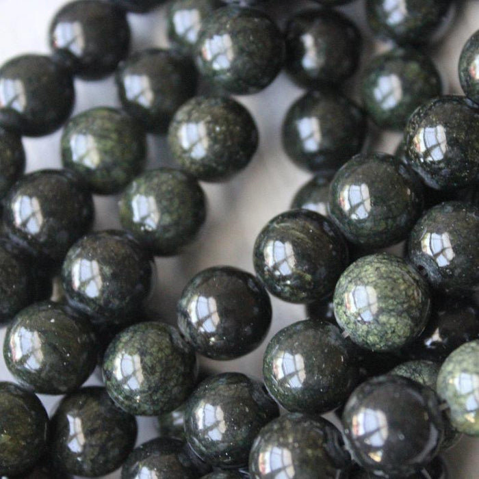 dark green mountain jade, 10mm, round, glossy, 1 strand, 16 inches, approx. 40 beads.-Gemstone Beads-BeadsVenture