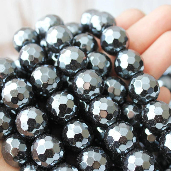 dark hematite, 14mm, round, glossy, 1 strand, 16 inches, approx. 28 beads.-Gemstone Beads-BeadsVenture