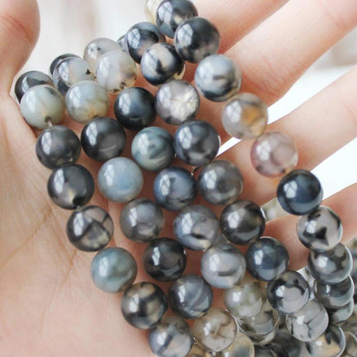 dragon vein agate, 10mm, round, glossy, 1 strand,16 inches, approx. 40 pieces.-Gemstone Beads-BeadsVenture
