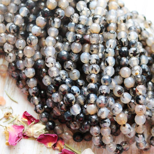 dragon vein agate, 6mm, round, glossy, 1 strand, 16 inches, approx. 66 beads.-Gemstone Beads-BeadsVenture