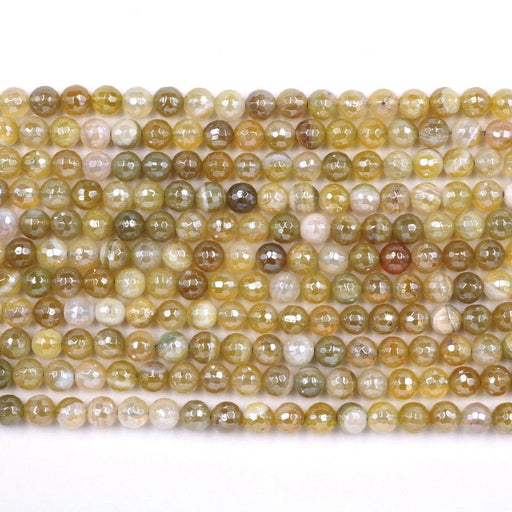 dull yellow striped agate, 6mm, round, silver plated, faceted, 16 inch strand, approx. 66 beads-Gemstone Beads-BeadsVenture
