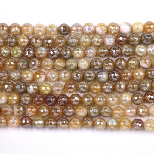 dull yellow striped agate, 8mm, round, silver plated, faceted, 16 inch strand, approx. 48 beads-Gemstone Beads-BeadsVenture