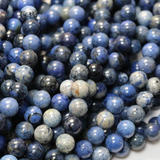 dumortierite, 8mm, round, glossy, 1 strand, 16 inches, approx. 48 beads.-Gemstone Beads-BeadsVenture