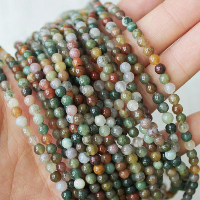 "fancy jasper, 4mm round, natural gemstones, full strand, 16"", approx.96 beads.-Gemstone Beads-BeadsVenture"