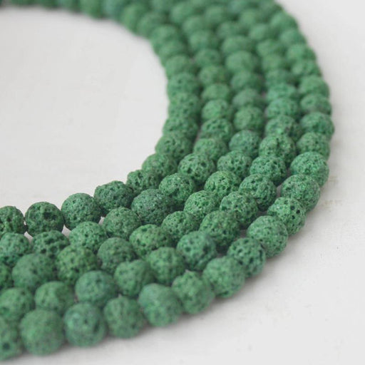 forest green lava, 6mm, round, glossy, 1 strand, 16 inches, approx. 66 beads.-Gemstone Beads-BeadsVenture
