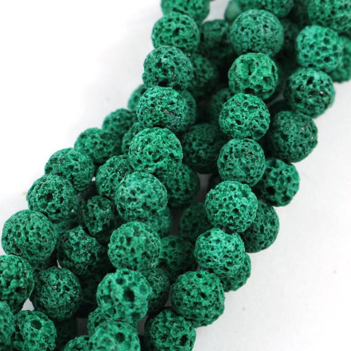 forest green lava, 6mm, round, rough, 1 strand, 16 inches, approx. 66 beads.-Gemstone Beads-BeadsVenture