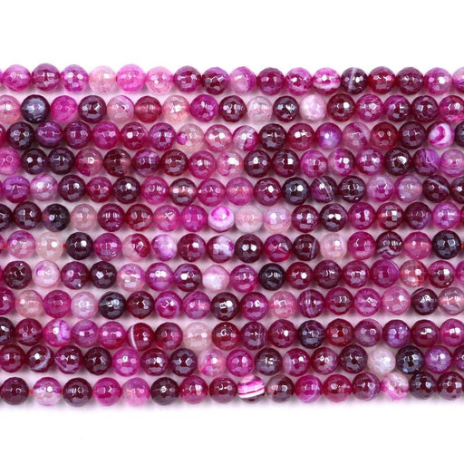 fuchsia banded agate, 6mm, round, silver plated, faceted, 16 inch strand, approx. 66 beads-Gemstone Beads-BeadsVenture