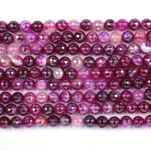 fuchsia banded agate, 8mm, round, silver plated, faceted, 16 inch strand, approx. 48 beads-Gemstone Beads-BeadsVenture