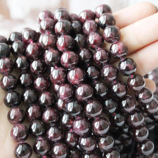 garnet, 10mm, round, glossy, red, sold as 1 strand, approx. 40 pieces.-Gemstone Beads-BeadsVenture