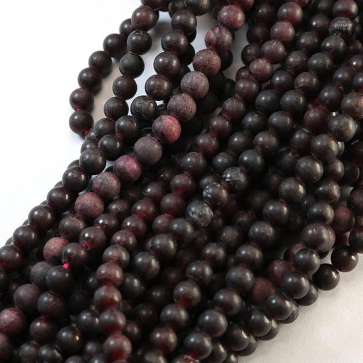 garnet, 5-6mm, round, semi matte, 1 strand, 16 inches, approx. 66 - 80 beads.-Gemstone Beads-BeadsVenture