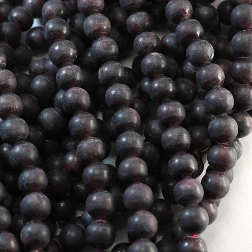 garnet, 8mm, round, semi matte, 1 strand, 16 inches, approx. 48 beads.-Gemstone Beads-BeadsVenture