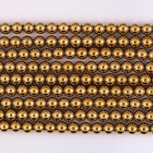 gold hematite, 8mm, round, glossy, 1 strand, 16 inches, approx. 48 beads.-Gemstone Beads-BeadsVenture