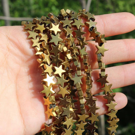gold hematite, 8mm, star, glossy, 1 strand, 16 inches, approx. 48 beads.-Gemstone Beads-BeadsVenture