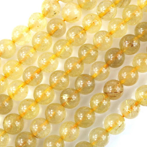 gold rutilated quartz, 8mm, round, glossy, 1 strand, 16 inches, approx. 48 beads.-Gemstone Beads-BeadsVenture