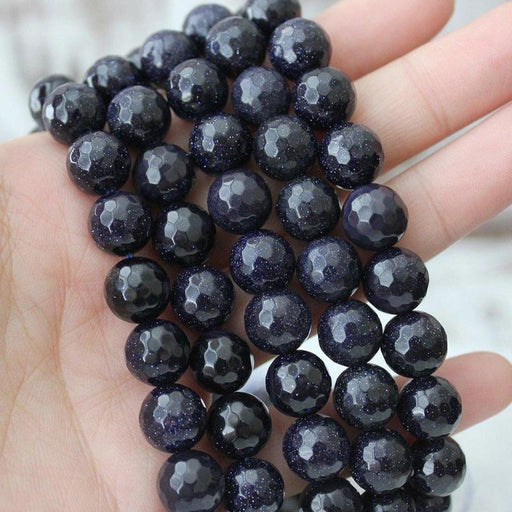 goldstone, 10mm, round, faceted, blue, sold as 1 strand, approx. 40 beads.-Gemstone Beads-BeadsVenture