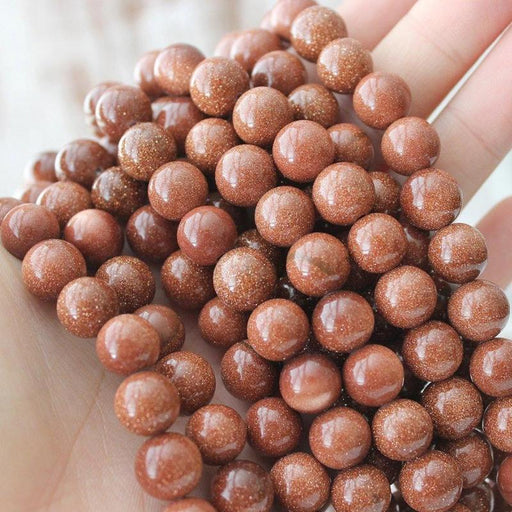 goldstone, 10mm, round, glossy, gold, sold as 1 strand, approx. 40 pieces.-Gemstone Beads-BeadsVenture