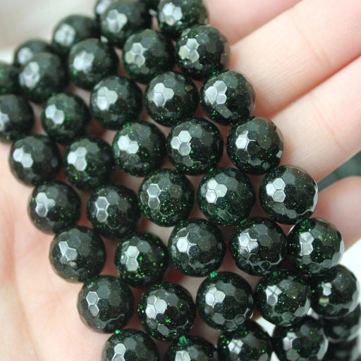 goldstone, 10mm, round, glossy, green, sold as 1 strand, approx. 40 beads.-Gemstone Beads-BeadsVenture