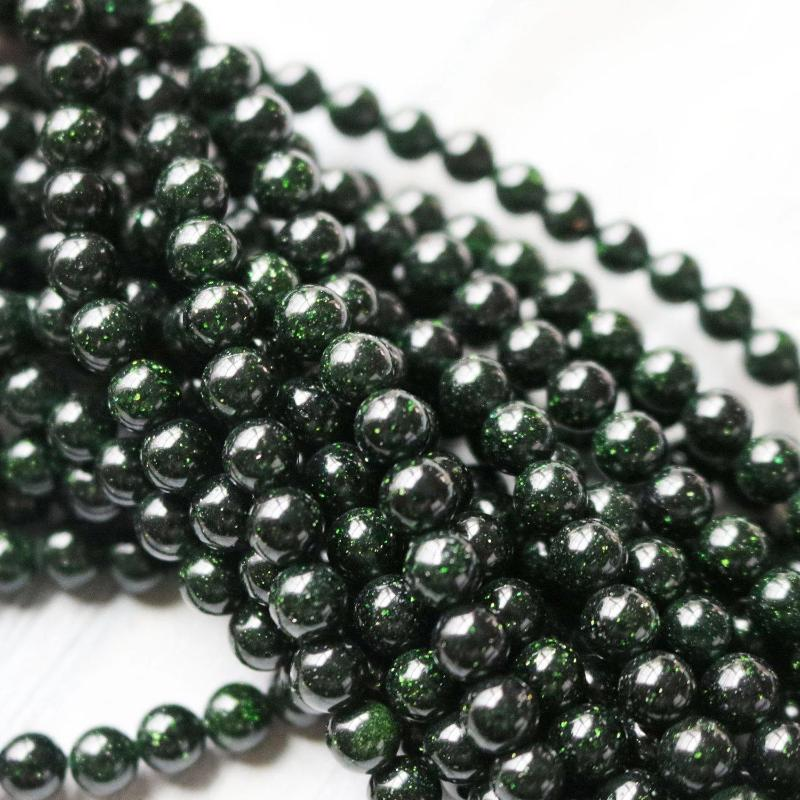 goldstone, 6mm, round, glossy, green, sold as 1 strand, approx. 66 beads.-Gemstone Beads-BeadsVenture