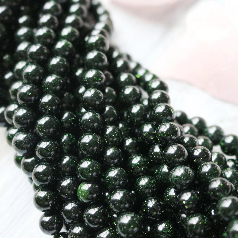 goldstone, 8mm, round, glossy, green, sold as 1 strand, approx. 48 pieces.-Gemstone Beads-BeadsVenture