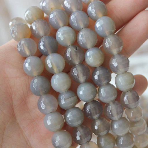gray agate, 10mm, round, faceted, gray, sold as 1 strand, approx. 40 pieces.-Gemstone Beads-BeadsVenture