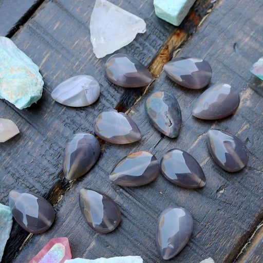 gray agate, 30mm x 20mm, teardrop, faceted, sold as 1 bead.-Gemstone Beads-BeadsVenture