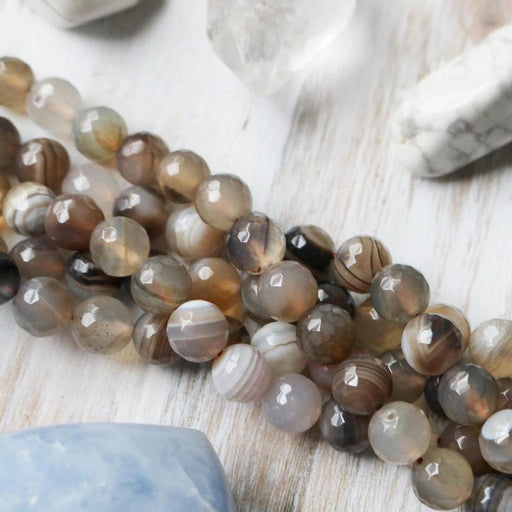 gray banded agate, 10mm, round, faceted, gray, sold as 1 strand, approx. 40 pieces.-Gemstone Beads-BeadsVenture