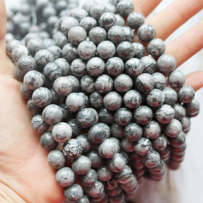 gray crazy lace agate, 10mm, round, glossy, 1 strand, 16 inches, approx. 40 pieces.-Gemstone Beads-BeadsVenture