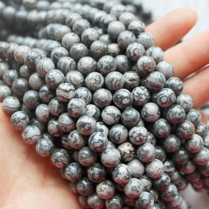 gray crazy lace agate, 8mm, round, glossy, 1 strand, 16 inches, approx. 48 pieces.-Gemstone Beads-BeadsVenture