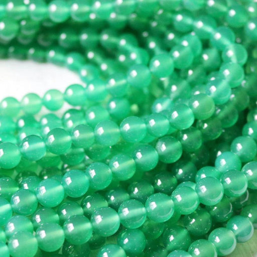 green agate, 8mm, round, glossy, 1 strand, 16 inches, approx. 48 beads.-Gemstone Beads-BeadsVenture