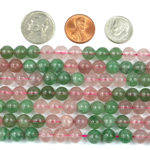 green and red strawberry quartz, 8mm, round, glossy, 1 strand, approx. 50 beads.-Gemstone Beads-BeadsVenture