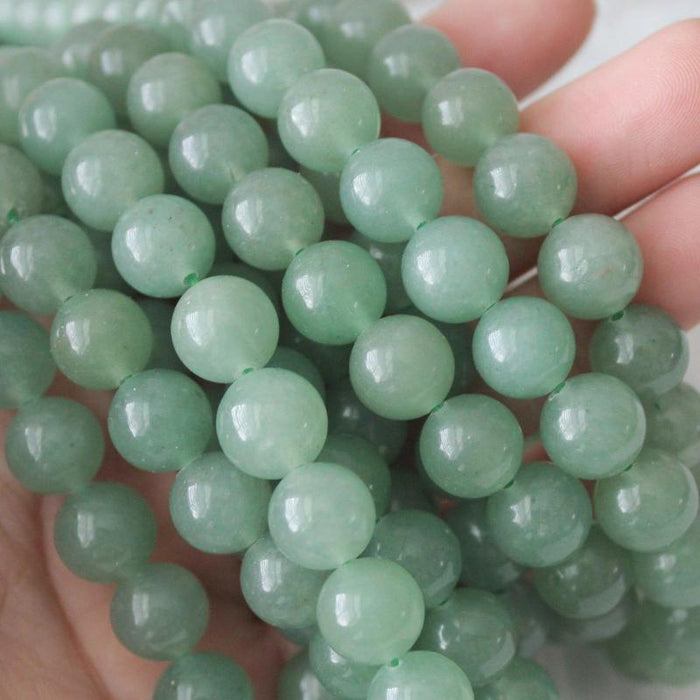 green aventurine, 10mm, round, glossy, 1 strand, 16 inches, approx. 40 beads.-Gemstone Beads-BeadsVenture