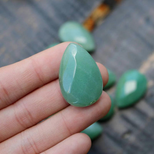 green aventurine, 30mm x 20mm, teardrop, faceted, sold as 1 bead.-Gemstone Beads-BeadsVenture