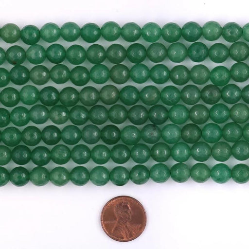 green aventurine, 8mm, round, faceted, 1 strand, 16 inches, approx. 48 beads.-Gemstone Beads-BeadsVenture