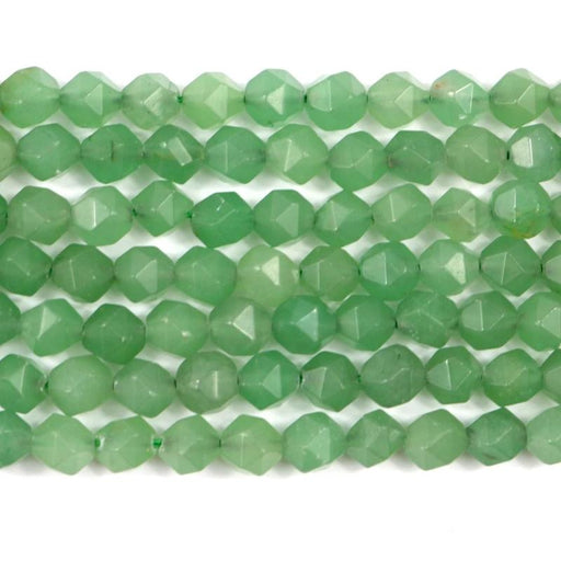 green aventurine gemstone, 8mm, diamond, faceted, 1 strand, 16 inches, approx. 48 beads.-Gemstone Beads-BeadsVenture