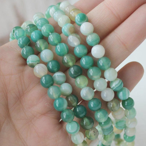 green banded agate, 6mm, round, glossy, 1 strand, 16 inches, approx. 66 beads.-Gemstone Beads-BeadsVenture