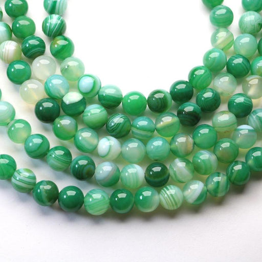 green banded agate, 8mm, round, glossy, 1 strand, 16 inches, approx. 48 beads.-Gemstone Beads-BeadsVenture