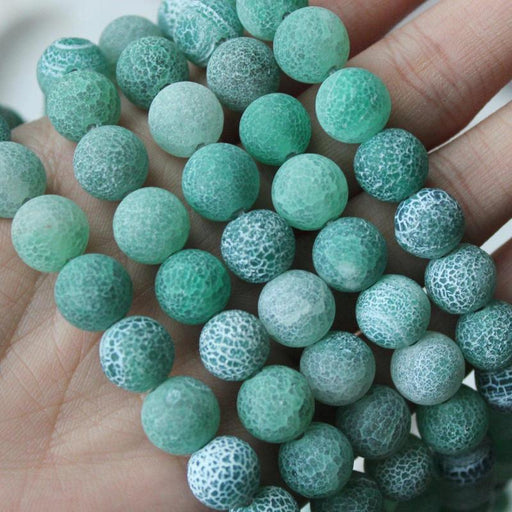 green crackle agate, 10mm, round, matte, 1 strand, 16 inches, approx. 40 beads.-Gemstone Beads-BeadsVenture