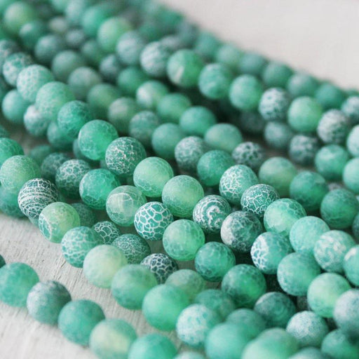 green crackle agate, 6mm, round, matte, 1 strand, 16 inches, approx. 66 beads.-Gemstone Beads-BeadsVenture