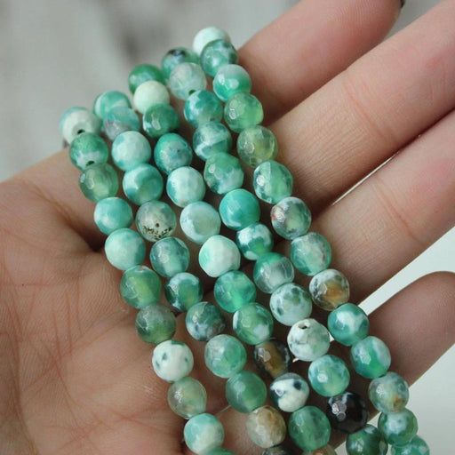 green fire agate, 6mm, round, faceted, 1 strand, 16 inches, approx. 66 beads.-Gemstone Beads-BeadsVenture