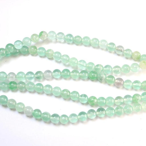 green fluorite, 6mm, round, glossy, 1 strand, 16 inches, approx. 66 beads.-Gemstone Beads-BeadsVenture