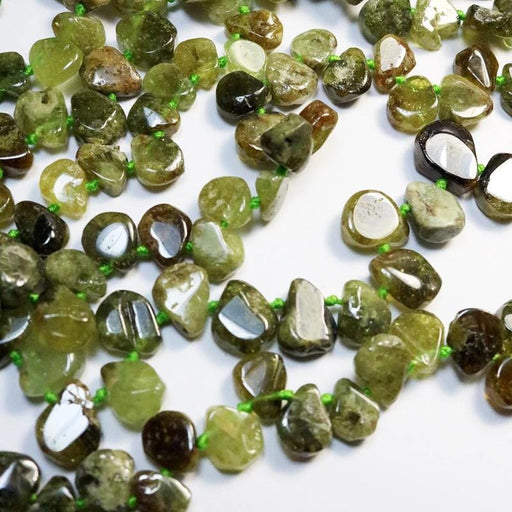green garnet, 11mm × 15mm, teardrop, glossy, green, 1 strand, approx. 52 beads.-Gemstone Beads-BeadsVenture