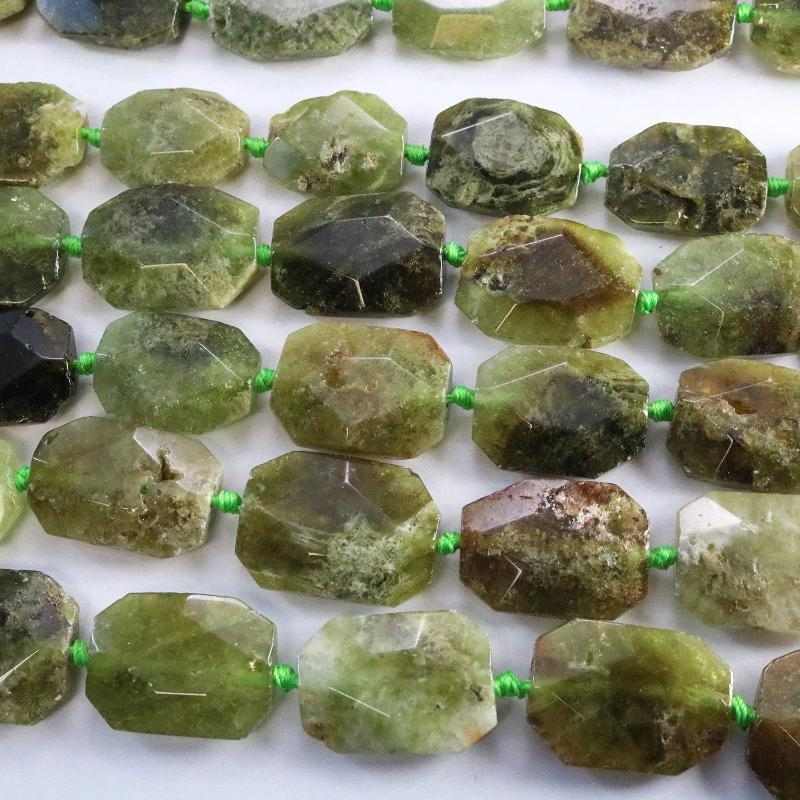 green garnet, approx. 25mm ×35mm, hexagon, glossy, 1 strand, 16 inches, approx. 11 beads.-Gemstone Beads-BeadsVenture