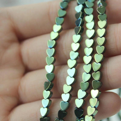 Green Hematite, 4mm, heart, glossy, 1 strand, 16 inches, approx. 96 beads.-Gemstone Beads-BeadsVenture
