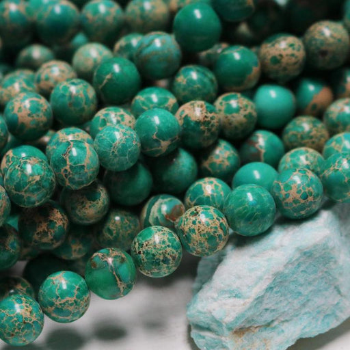 green impression jasper, 10mm, round, glossy, 1 strand, 16 inches, approx. 40 beads.-Gemstone Beads-BeadsVenture