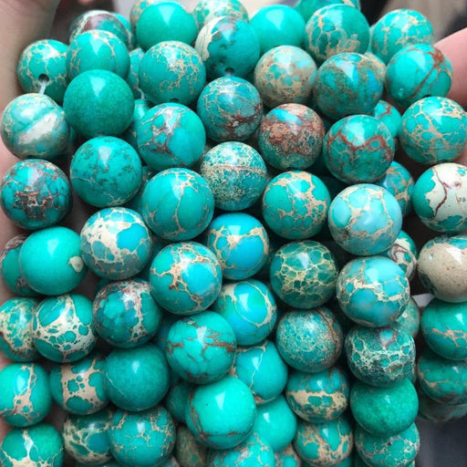 green impression jasper, 12mm, round, glossy, 1 strand, 16 inches, approx. 34 beads.-Gemstone Beads-BeadsVenture